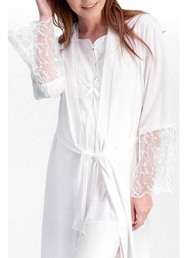 Pierre Cardin Pierre Cardin Krem Kadın Lohusa Pijama Takımı, Sabahlık 3'Lü Set Krem